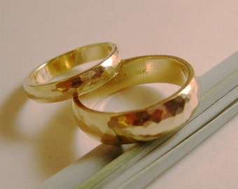 Wedding Bands, Hand Forged, Hammered, 14k Yellow Gold