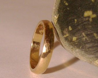 Wedding Band, Hand Forged, 4mm, 14k Yellow Gold