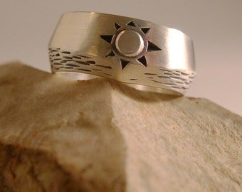 SUN OVER WATER, Sterling Silver Ring for Men or Women