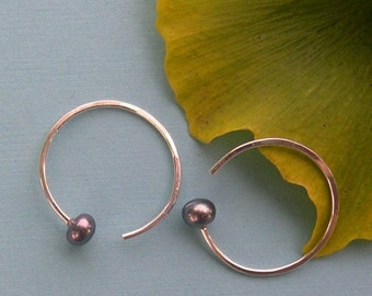 Black Pearl Hoop Earrings, Sterling Silver