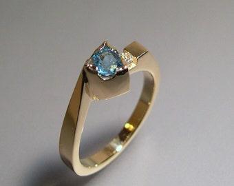 Blue Topaz, Trillion Cut, Diamond, 14k Gold Ring