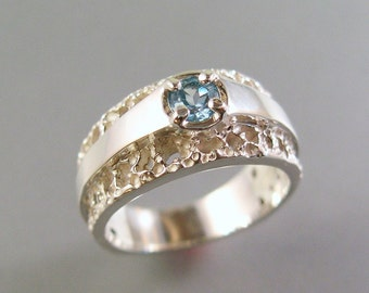 Satin and Lace Blue Topaz Ring, Sterling Silver