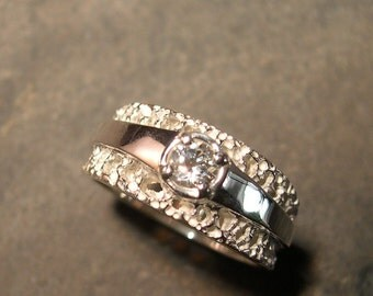 Satin and Lace White Topaz Ring, Sterling Silver