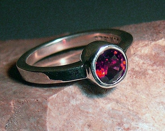 Garnet Ring Fire, Sterling Silver