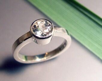 White Light Topaz Ring, Sterling Silver