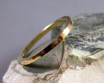 Hand Forged, Hammered Ring, 14k Gold