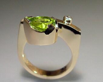 Peridot, Diamond, 14k Gold  Contemporary Designer Ring