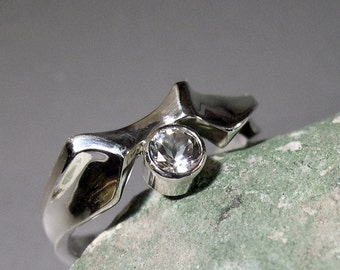 White Topaz Engagement Ring, or Everyday Ring, Sterling Silver
