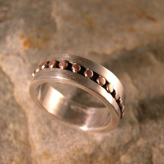 COPPER  RIVER RING, Wedding Band, Sterling Silver, Copper