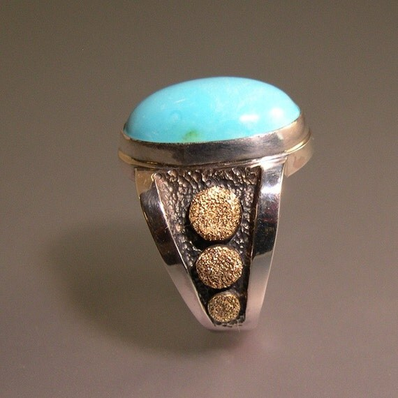 Sleeping Beauty Turquoise Ring for Men or Women, Sterling Silver, 14k Gold, Fine Silver