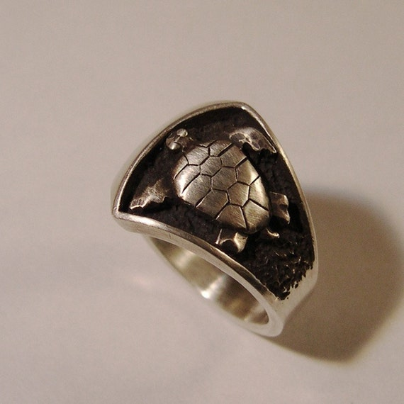 sea turtle ring sterling silver by chrismuellerjewelry on etsy