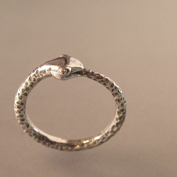 Silver Snake Ring Ouro...