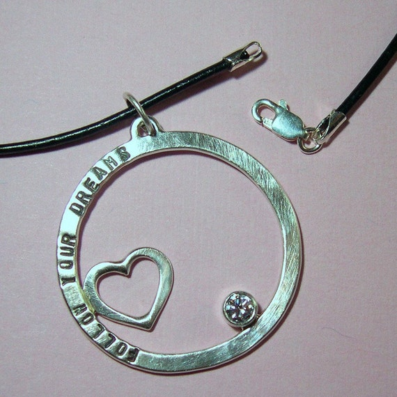 Hand Stamped, Personalized, Follow Your Dreams Pendant, Sterling silver, Cubic Zirconia, Leather