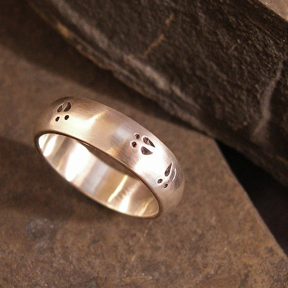 Deer Track Wedding Band or Nature Ring Buck, 6mm, Sterling silver