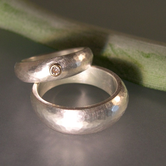 Wedding Set, Hand Forged, Tapered, Sterling Silver, 14k Gold, Diamond