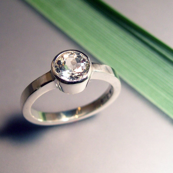 White Light Topaz Ring, Sterling Silver