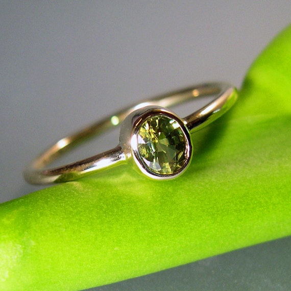 Green Sapphire Engagement Ring, or Stacking Ring, 14k Gold