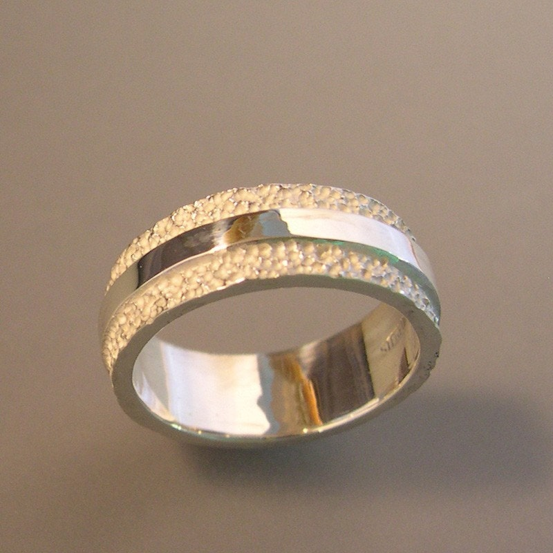 Texture And High Polish Wedding Band 8mm Textured Ring