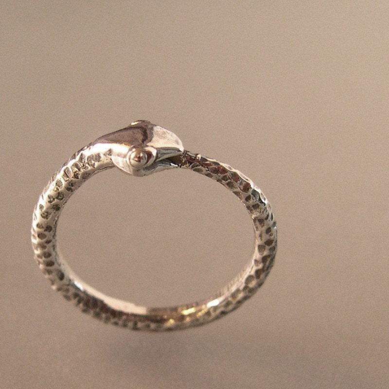 silver snake ring ouroboros serpant