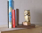 Vintage Owl Bookend Hand Carved Wood, Hand Painted