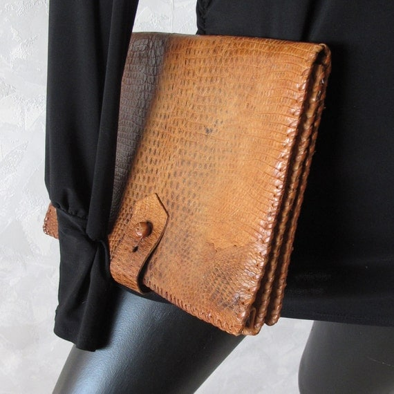 Vintage Distressed Reptile Portfolio Clutch