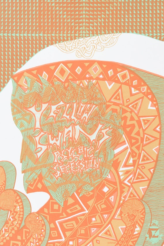 Yellow Swans screenprinted tour poster by Seripop Psychedelic Op-Art geo
