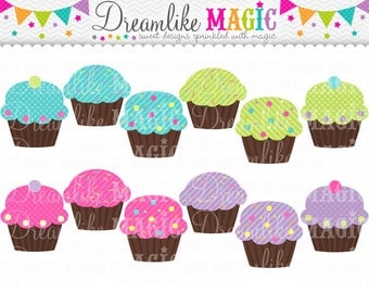 Sweet Dreamy Magical Cupcakes- Clipart for Personal or Commercial Use