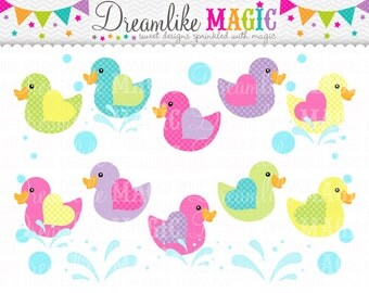 Rubber Duck Clipart, Duck Clipart, Bright Colors, Water, Bubbles Clipart, Splash clipart, Duckies, Duckie Clipart, Heart Wings