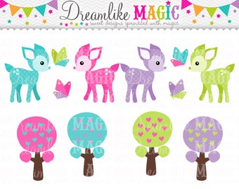 Sweet Deers, Trees and Butterfly Friends- Clipart for Personal or Commercial Use