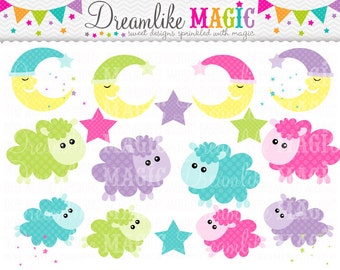 Sweet Lambs, Moons and Stars- Clipart for Personal or Commercial Use