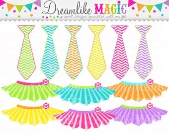 Sweet Tutus and Ties- Clipart for Personal or Commercial Use