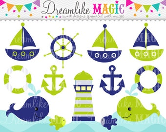Lime Green and Navy Nautical Clipart- Clipart for Personal or Commercial Use