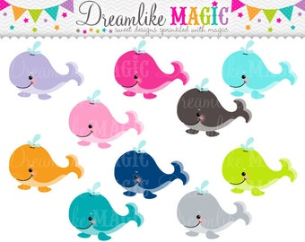 Sweet Whales- Clipart for Personal or Commercial Use