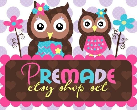 Bright Garden Owls- Premade Etsy Set