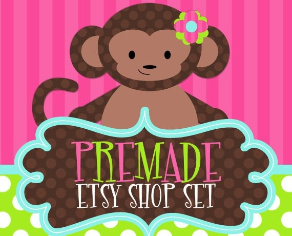 Sweet Monkey on Pink Green and Blue- Premade Etsy Set