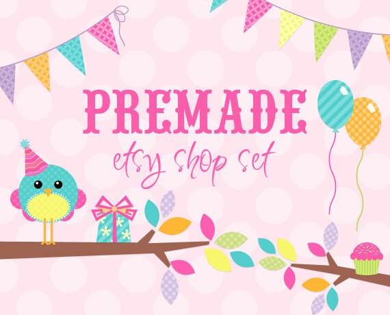 Sweet Pink Party Tweet- Premade Etsy Set
