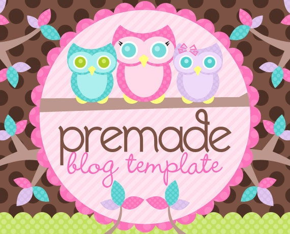 Blogger Template- Mom Owlivia and Owlets on Choco Dots Design