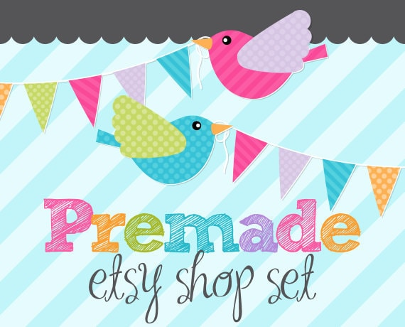 Sweet Party Tweets- Premade Etsy Set