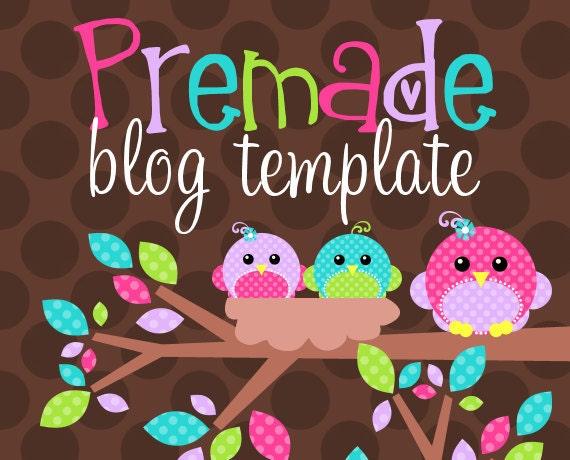 Blogger Template- Nest of Bright Tweets Design
