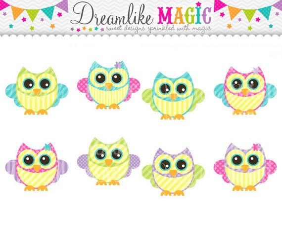 Owl Clipart, Spring Clipart, Cute Owls, Owl with Bow- Clipart for Personal or Commercial Use