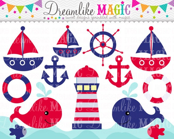 Red and Navy Nautical Clipart- Clipart for Personal or Commercial Use