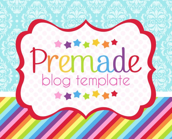 Blogger Template- Rainbow with Blue Damask Design