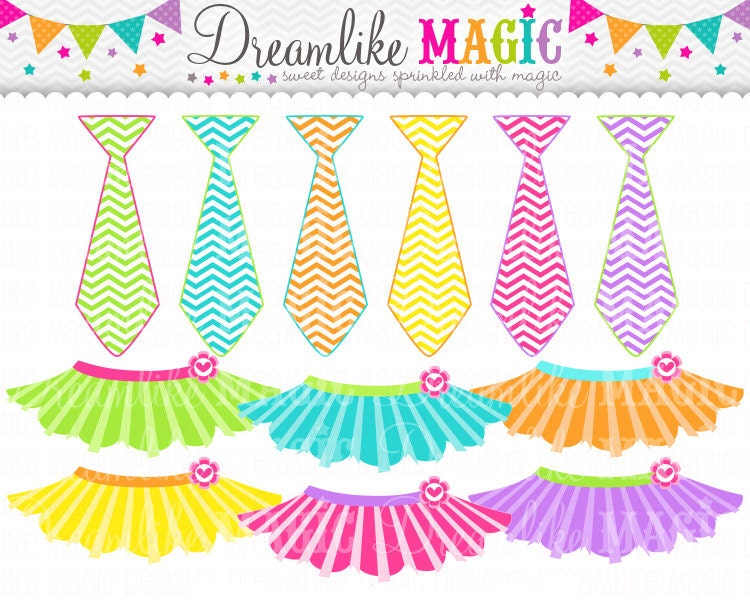 Sweet Tutus and Ties Clipart for Personal or Commercial Use