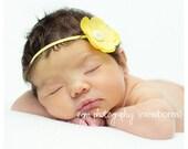 Baby Flower Headband Yellow...Baby Flower Headband...Newborn Headband...Yellow Headband...Baby Headband