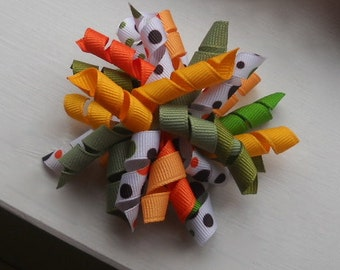 Corker Bow Hair Clip- Greens and oranges