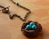 Handcrafted Birds Nest Necklace in Antiqued Copper with Robins Eggs