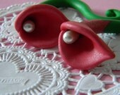 2g Ready to GO - Ruby Red Calla Lily Gauged Earrings, Vintage inspired, Ruby, Pearl, Fancy, Floral, Flower, Bouquet, Retro, Sale, OOAK