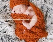 Chunky Set-Hat Cocoon Newborn Baby Photo Prop in Burn Orange/Pumkin
