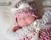Cocoon and Hat Newborns Photo Prop in Swirly Pinks / Set Photography Babies GIFT Newborns / Wrap Cocoon Nest and Hat Photo shoot