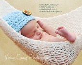 The Beanie Button Hat Newborn Photo prop in Baby Blue - Photography wood button Hat